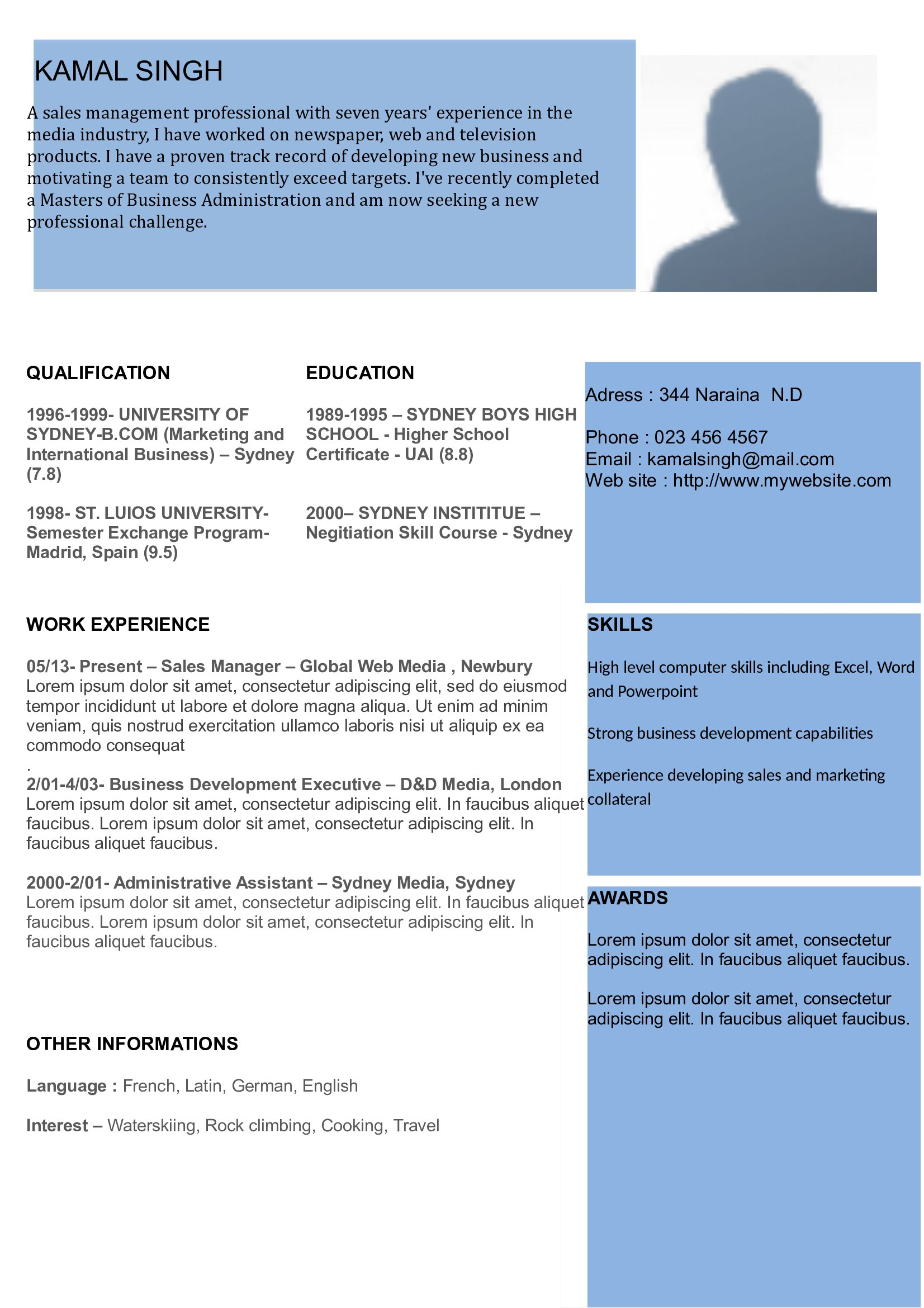 Modern Resume 01 Curriculum Vitae